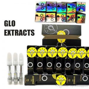Glo empty vape cartridges bulk empty carts with packaging 510 thread empty vape pen